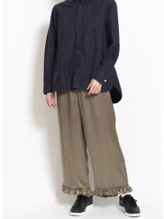 サテンワッシャー裾フリルギャザーパンツ