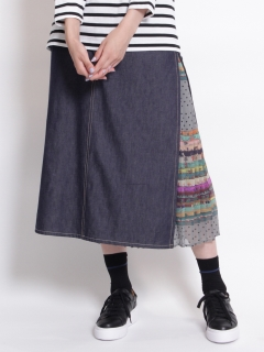 シフォンミックスボーダープリントプリーツ+ライトオンスデニムスカート