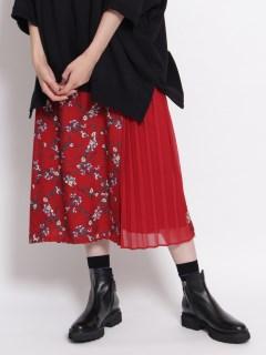 キュプラモダールカルゼ ランダム小花プリントサイドプリーツスカート