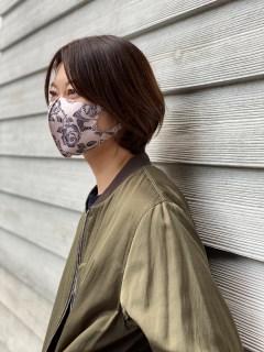 【洗えるマスク】バラプリント立体布マスク