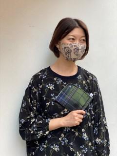 【洗えるマスク】バラプリント立体布マスク&マスクケースセット