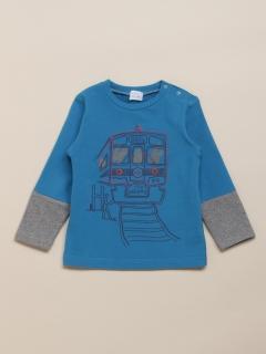 [ベビー]電車プリントウォームテック長袖Tシャツ