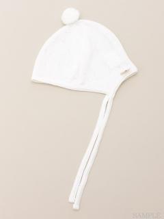 [ベビー]針抜きニットソーボン天付き帽子