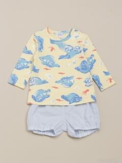[ベビー]ボンボンアザラシプリント長袖Tシャツローンパンツセット