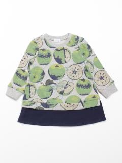 [ベビー]シャドーアップル(りんご)プリント裏毛長袖スウェットワンピース