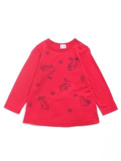 [ベビー]うさぎ刺繍風プリントAライン長袖Tシャツ
