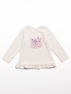 [ベビー]コーヒーカッププリント長袖Tシャツ(あったか・ウォームテック)