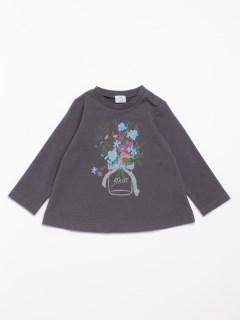 [ベビー]花柄ブーケプリントミニ裏毛長袖Tシャツ(あったか・ウォームテック)