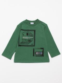 [ベビー・ボーイズ]電車プリントミニ裏毛長袖Tシャツ(ウォームテック・あったか)