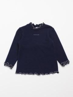 [ベビー]ニット風天竺起毛ハイネック長袖Tシャツ(やわらか)