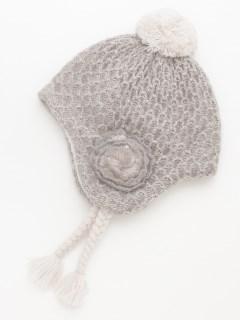 [ベビー]花モチーフ付きボアニット帽子(あったか)