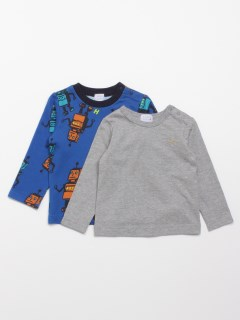 [ベビー・ボーイズ]ロボットプリント裏毛トレーナーTシャツセット(セット商品)
