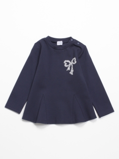 [ベビー]ポンチ圧縮ジャージ長袖AラインTシャツ