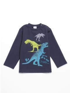 [ベビー・ボーイズ]ポンチ圧縮ジャージ恐竜プリント長袖Tシャツ