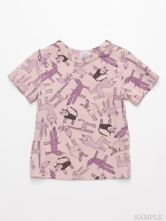 [ベビー]HAKKA45周年記念「スイミーデザインラボ」コラボ アニマル総柄プリント半袖Tシャツ