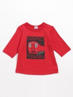 [ベビー・ボーイズ]電車プリント7分袖Tシャツ