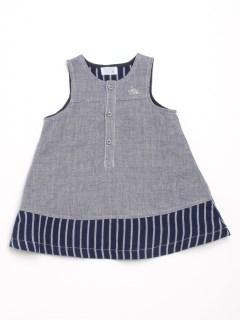 [ベビー]デニム風ダブルガーゼジャンパースカート