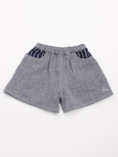 [ベビー]デニム風ダブルガーゼキュロットスカート