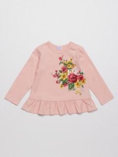 [ベビー]フラワープリント裾フリル長袖Tシャツ