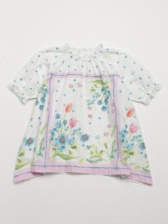 [ベビー]春のお花スカーフプリント8分袖ワンピース