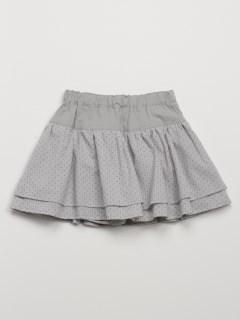 [ベビー]ストライプガーゼドットプリントスカート(インナーパンツ付き)