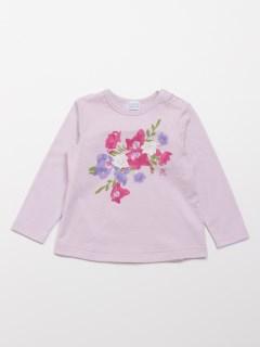 [ベビー]フラワープリント長袖Tシャツ