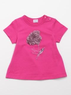 [ベビー]フラワーモチーフ半袖AラインTシャツ(UVカット)