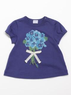 [ベビー]スミレブーケプリント半袖AラインTシャツ