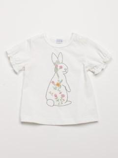 [ベビー]うさぎプリント半袖AラインTシャツ(UVカット)