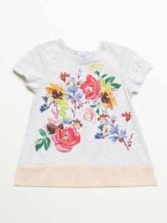 [ベビー]フラワープリントAラインTシャツ