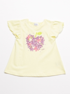 [ベビー]アップルプリントフリル袖Tシャツ