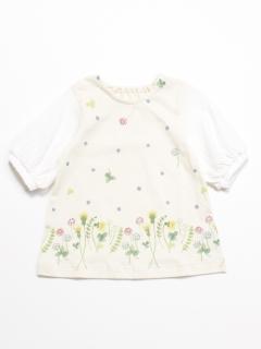 [ベビー]フラワープリント7分袖チュニックTシャツ