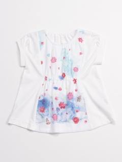 [ベビー]マリンフラワープリント半袖チュニックTシャツ