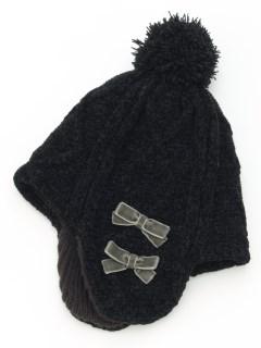 リボン付きニット帽子(あったか)