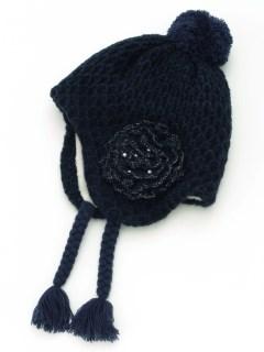花モチーフ付きボアニット帽子(あったか)