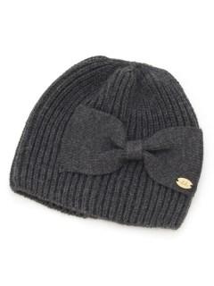 ボリュームリボン付きニット帽子(あったか)