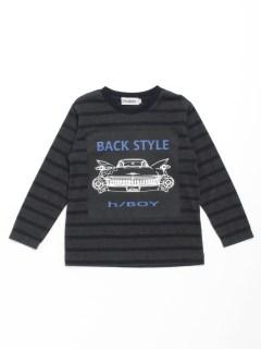 [ジュニアサイズ・ボーイズ]h/BOY クラシックカープリントボーダー長袖Tシャツ