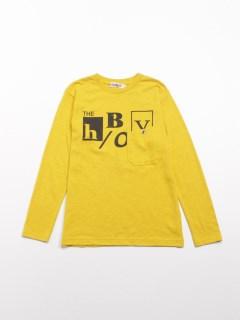 [ジュニアサイズ・ボーイズ]h/BOY ポケット付きロゴプリント長袖Tシャツ