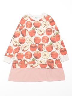 [ジュニアサイズ]シャドーアップル(りんご)プリント裏毛長袖スウェットワンピース