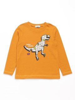 [ボーイズ]恐竜プリント長袖Tシャツ(あったか・ウォームテック)
