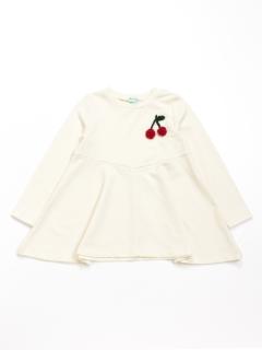 [ジュニアサイズ]ワンポイントチェリーモチーフミニ裏毛長袖Tシャツ(あったか・ウォームテック)