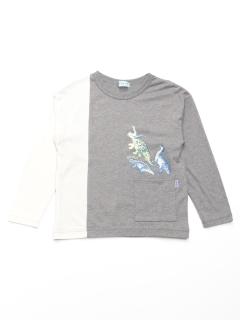 [ボーイズ]恐竜プリントボリュームシルエット長袖Tシャツ