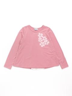 [ジュニアサイズ]花モチーフ付き長袖Tシャツ(抗菌防臭加工)