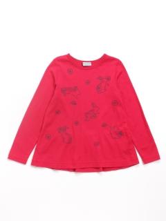 [ジュニアサイズ]うさぎ刺繍風プリントAライン長袖Tシャツ