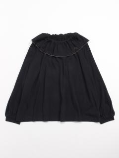 [ジュニアサイズ]シルキーコットン衿付き9分袖ブラウス
