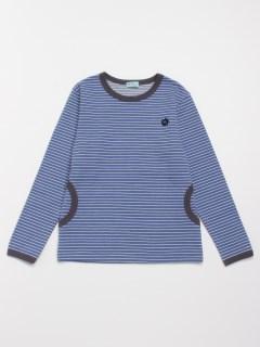 [ジュニアサイズ・ボーイズ]ストレッチボーダー長袖Tシャツ