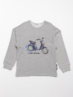 [ジュニサイズ・ボーイズ]h/BOY ボーダー切替クラシックバイク刺しゅう長袖Tシャツ