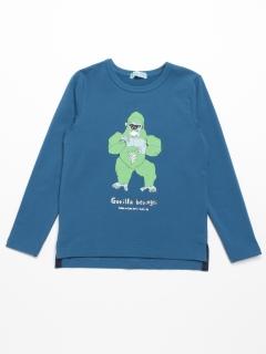 [ジュニアサイズ]「学研の図鑑 LIVE」コラボ 動物プリント長袖Tシャツ