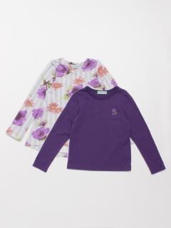 ストライプアネモネプリント裏毛チュニックTシャツセット(セット商品)
