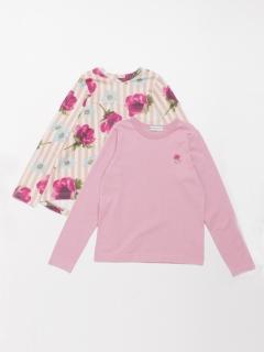[ジュニアサイズ]ストライプアネモネプリント裏毛チュニックTシャツセット(セット商品)